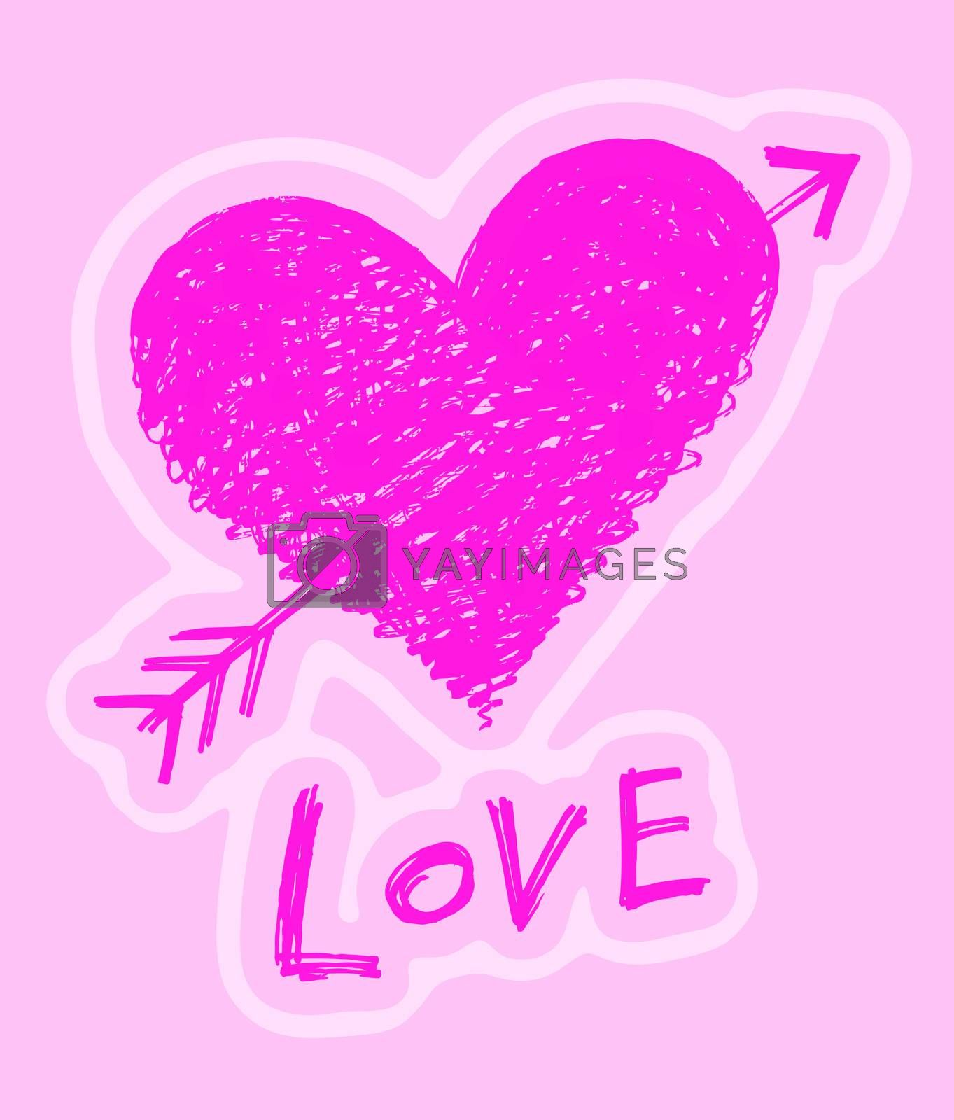 "Abstract heart pierced by an arrow with word ""Love"" on pink background"