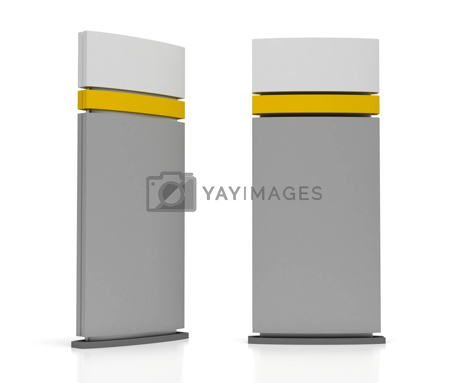Blank Sign Tower (isolated on white background)
