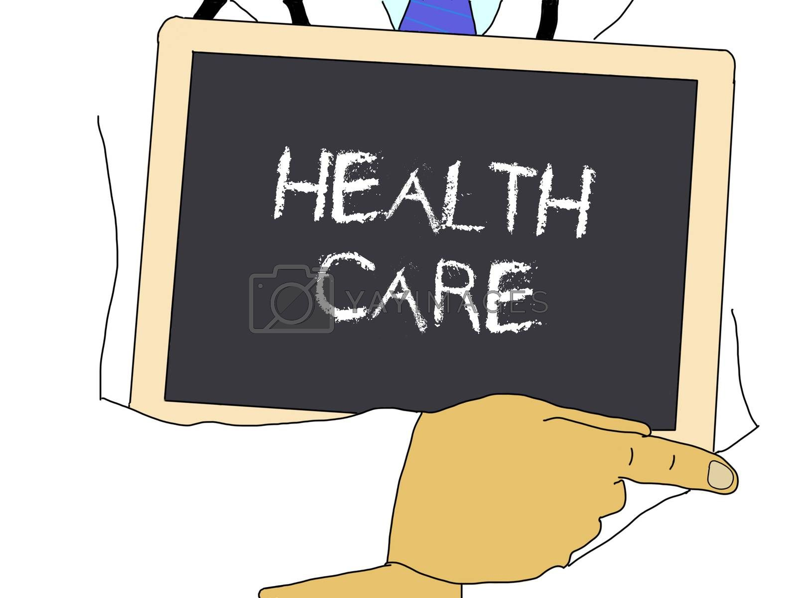 Illustration: Doctor shows information: Health care by gwolters