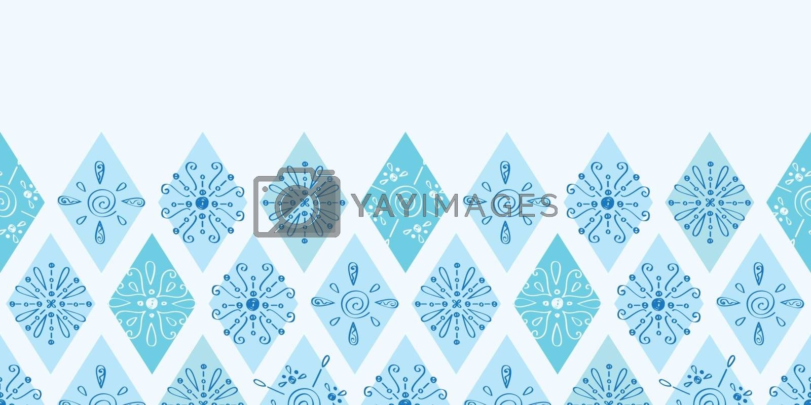 Vector abstract blue doodle rhombus horizontal border seamless pattern background graphic design