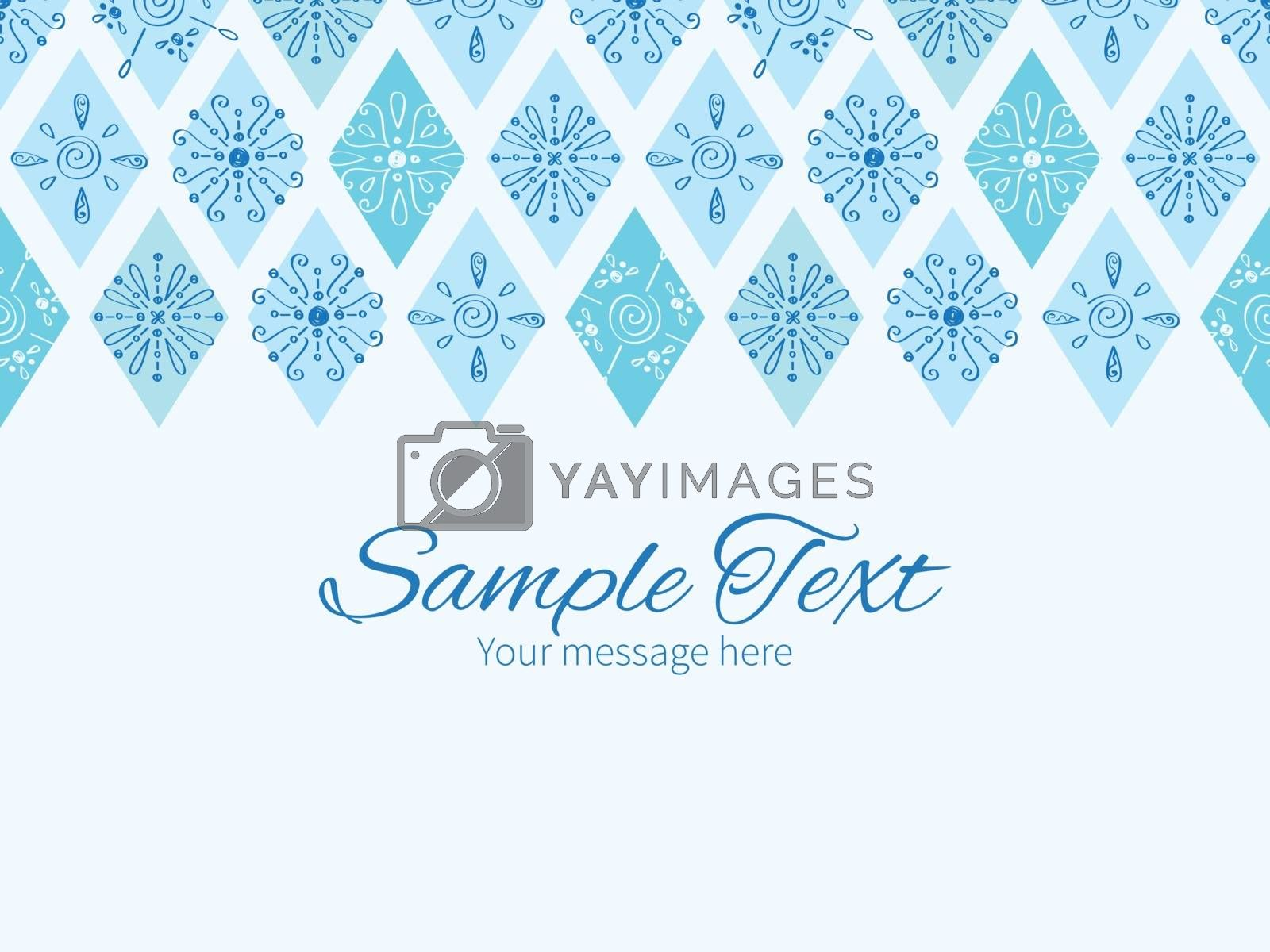 Vector abstract blue doodle rhombus horizontal border greeting card invitation template graphic design