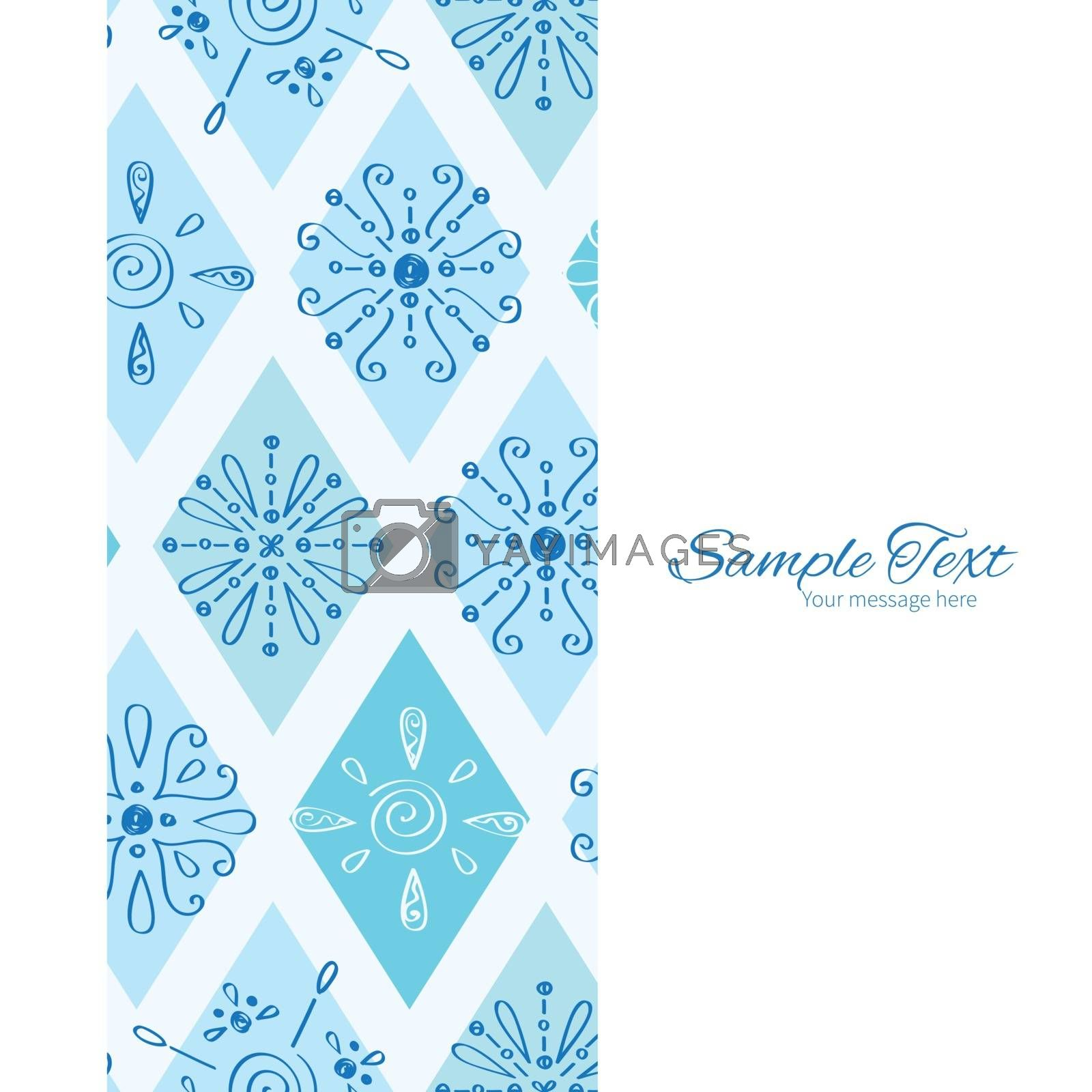 Vector abstract blue doodle rhombus vertical frame seamless pattern background graphic design
