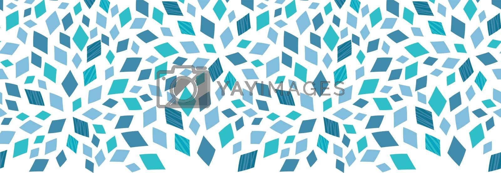 Vector blue mosaic texture horizontal border seamless pattern background graphic design