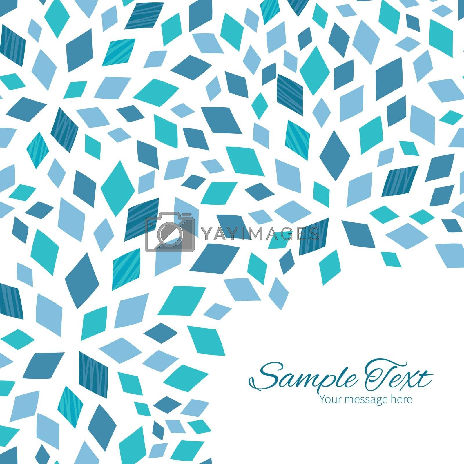 Vector blue mosaic texture frame corner pattern background graphic design