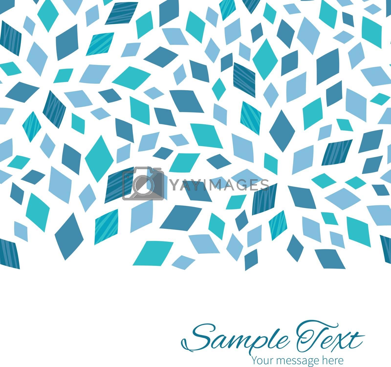 Vector blue mosaic texture horizontal border card template graphic design