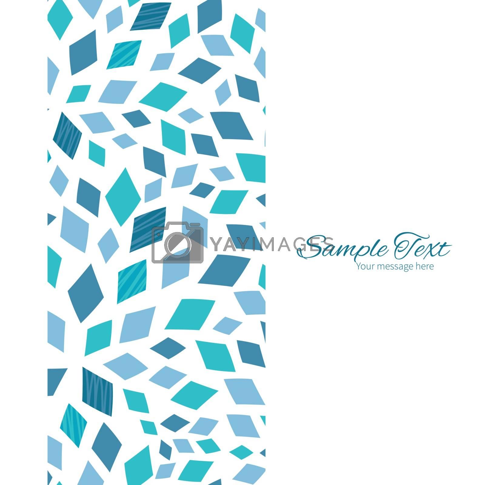 Vector blue mosaic texture vertical frame seamless pattern background graphic design