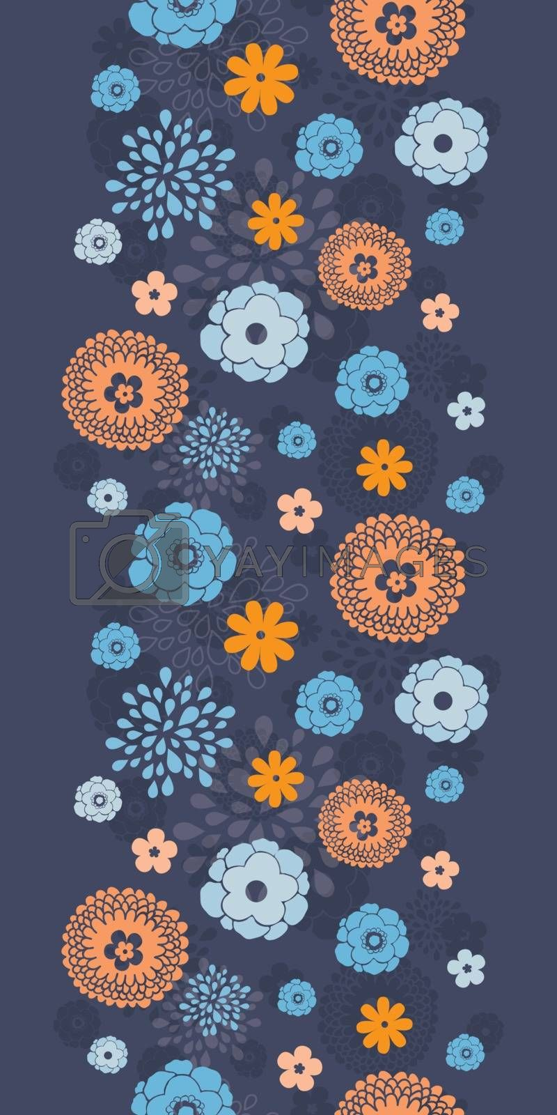 Vector golden and blue night flowers vertical border seamless pattern background graphic design