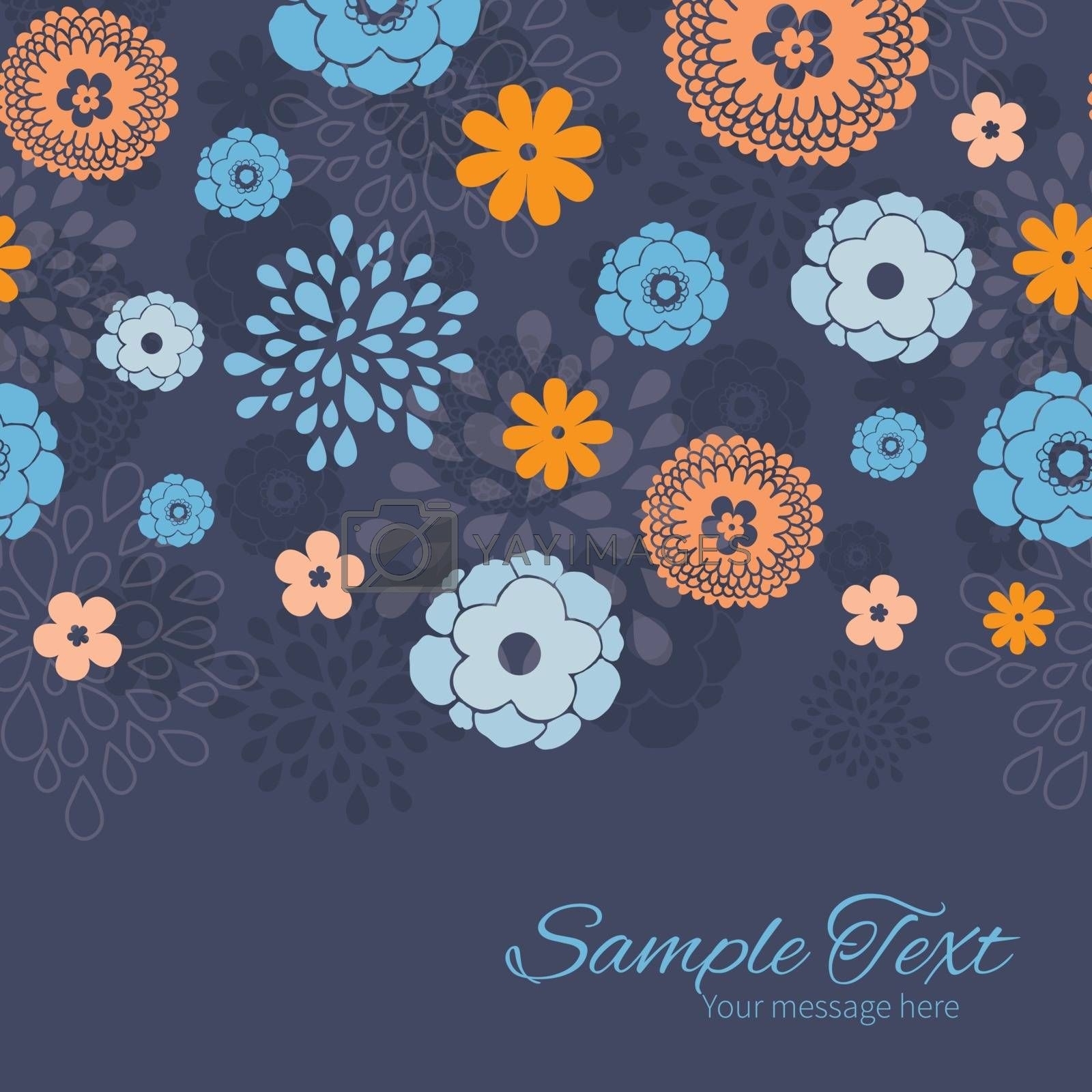 Vector golden and blue night flowers horizontal border card template graphic design