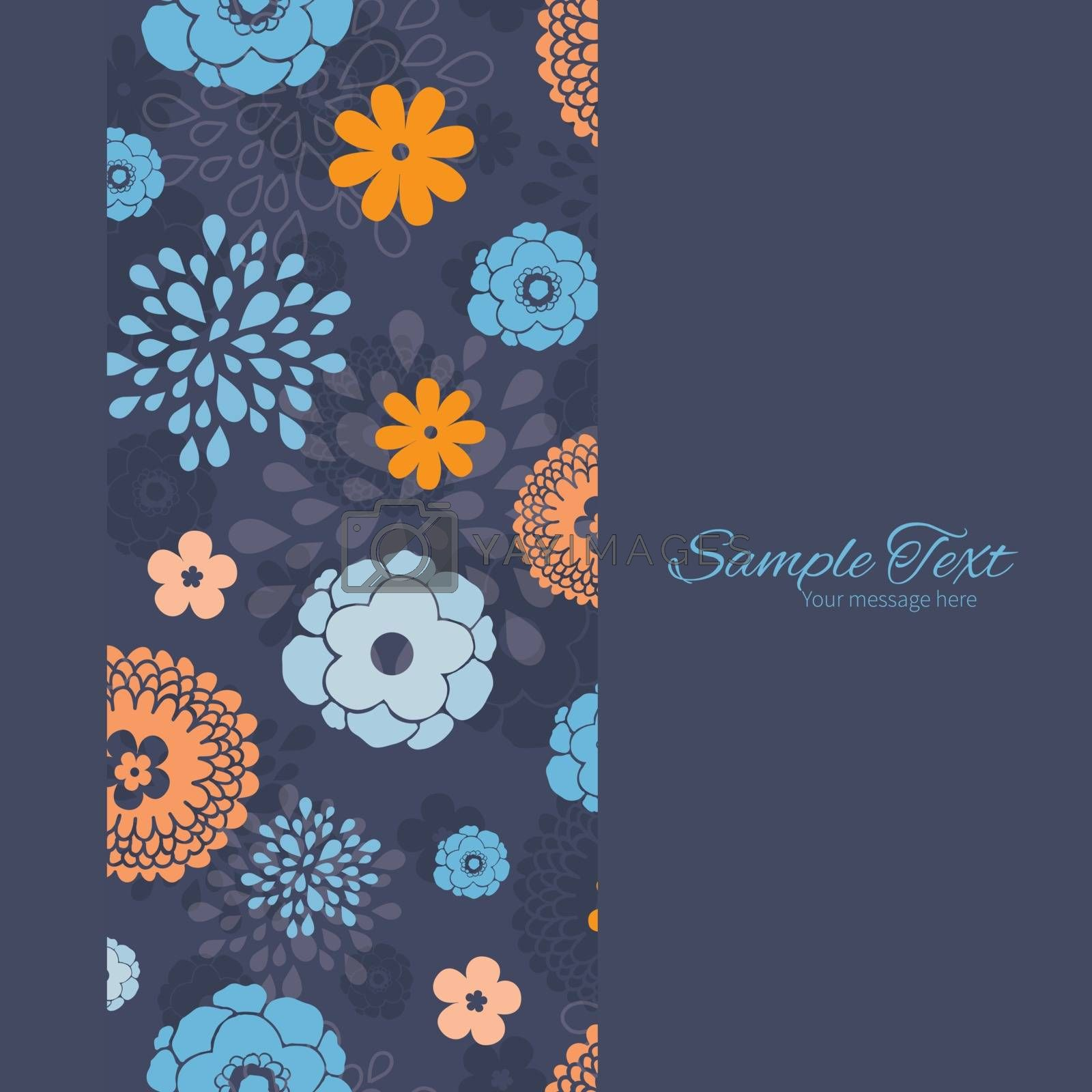 Vector golden and blue night flowers vertical frame seamless pattern background graphic design