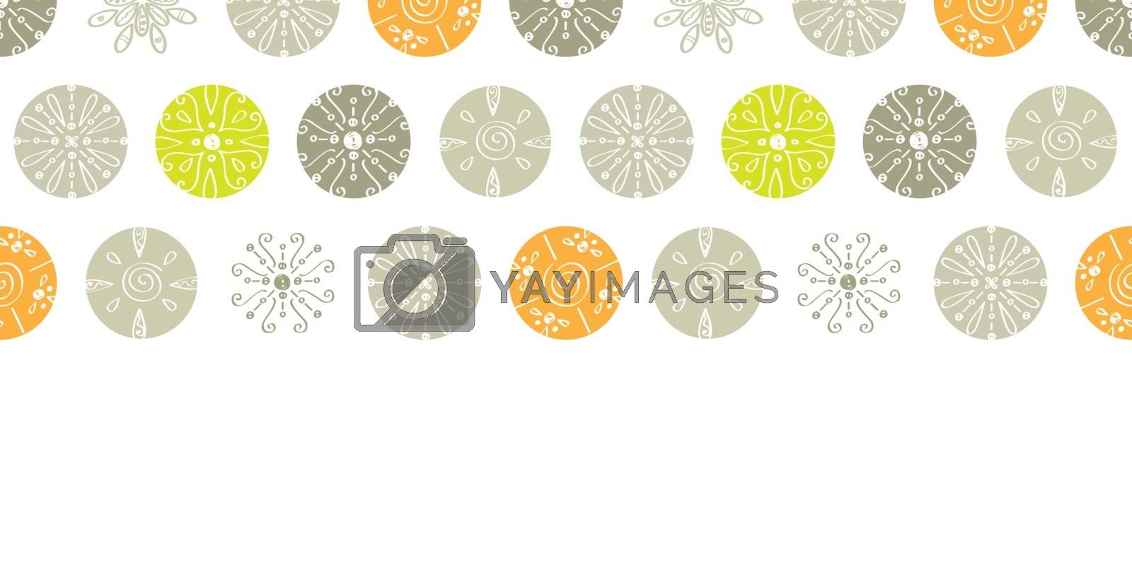 Vector abstract gray and green polka dot backgr horizontal border seamless pattern background graphic design