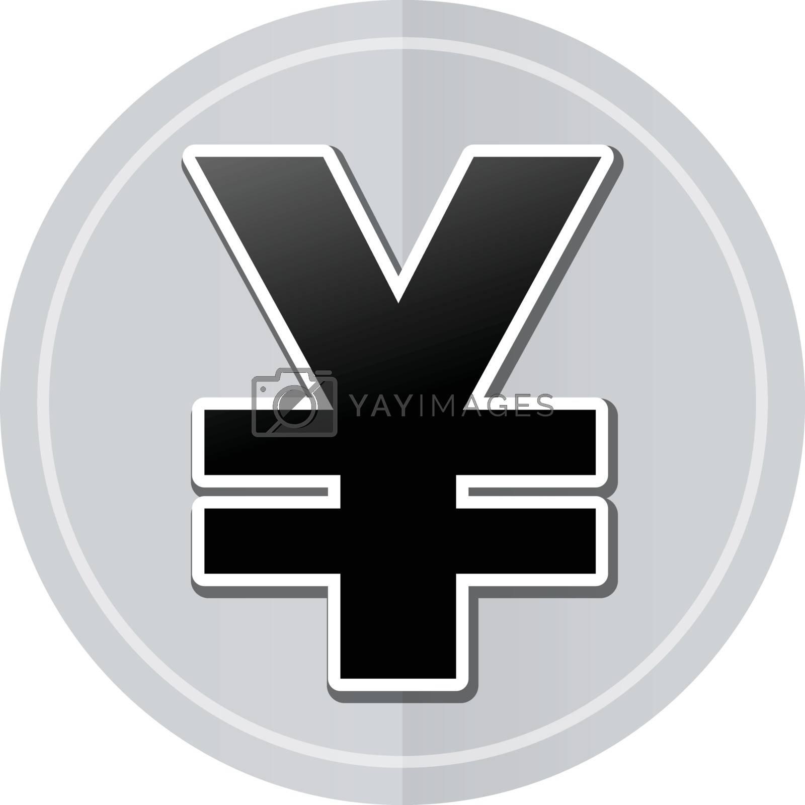 Illustration of yen sticker icon simple design