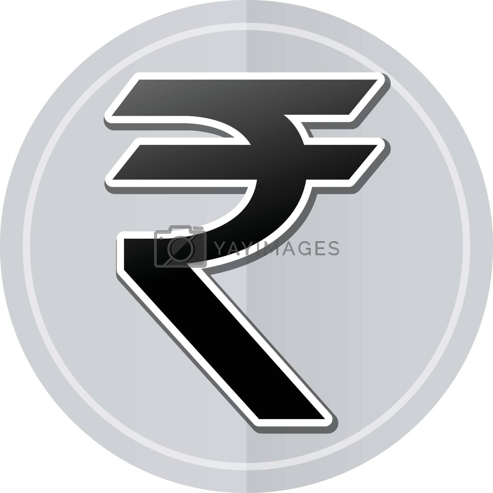 Illustration of rupee sticker icon simple design