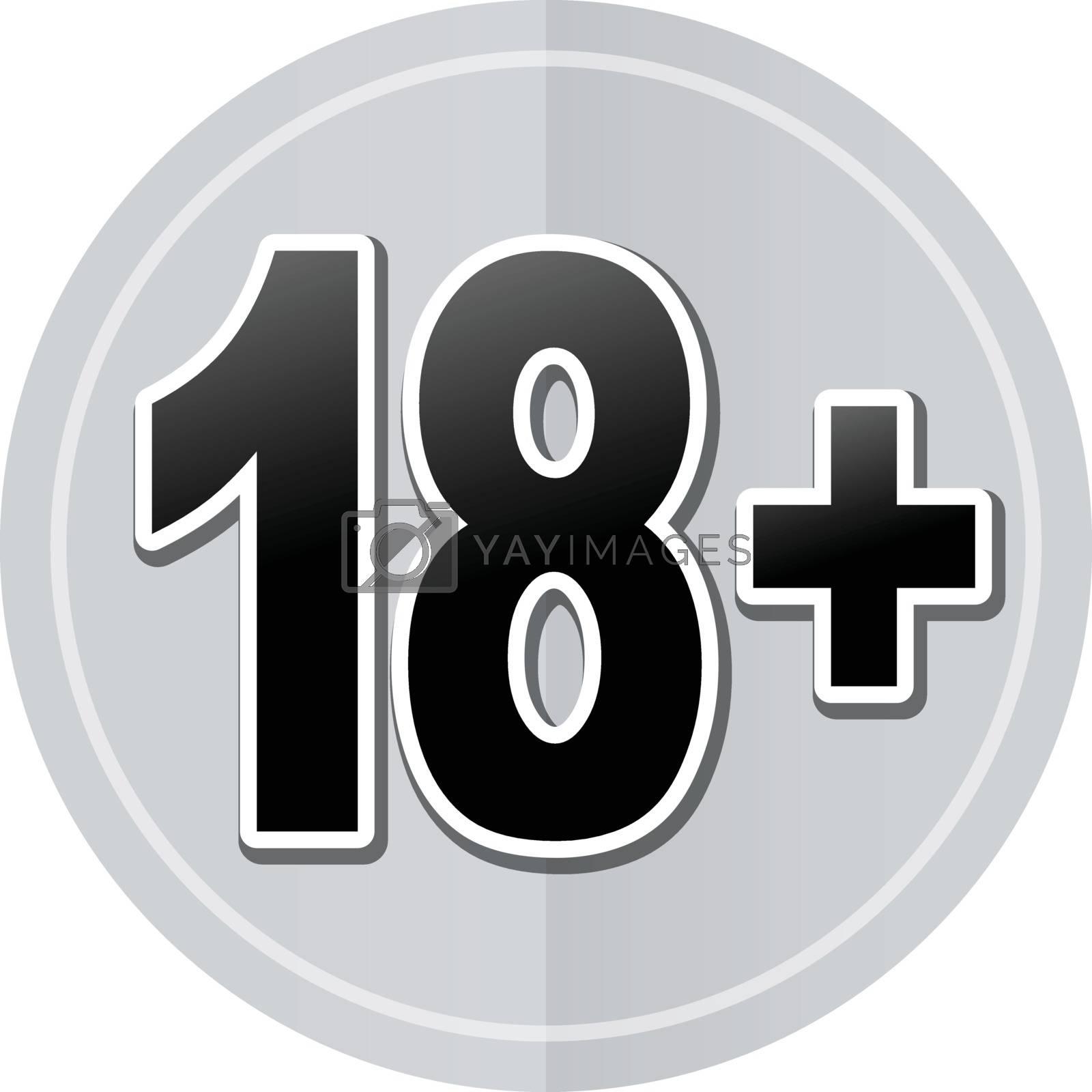 Illustration of eighteen sticker icon simple design