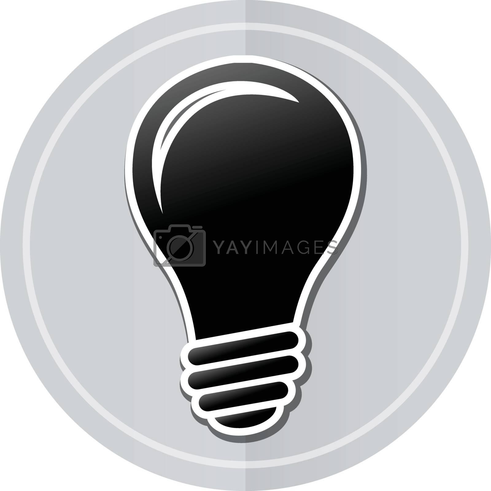 Illustration of lightbulb sticker icon simple design