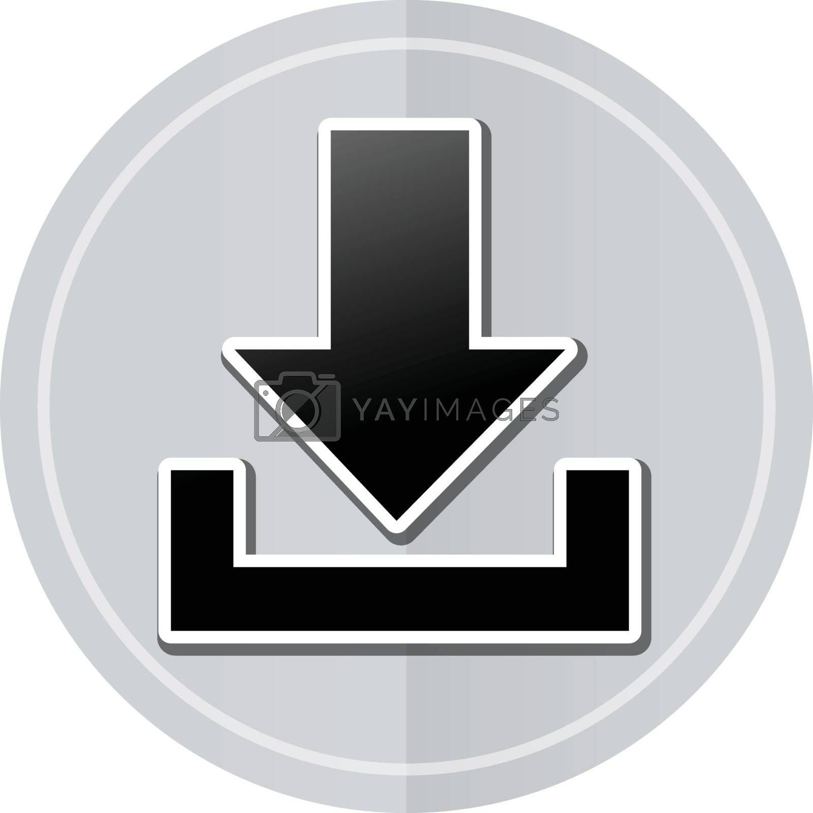 Illustration of download sticker icon simple design