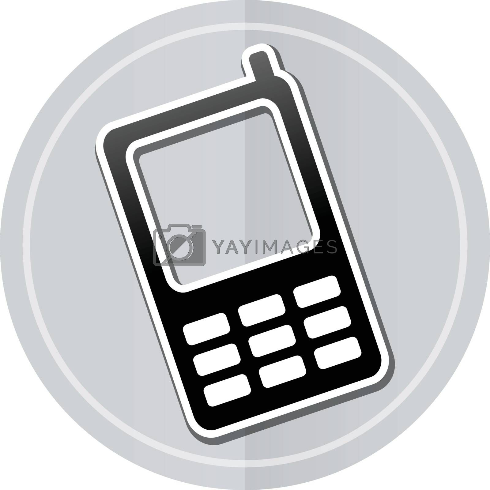 Illustration of mobile phone sticker icon simple design