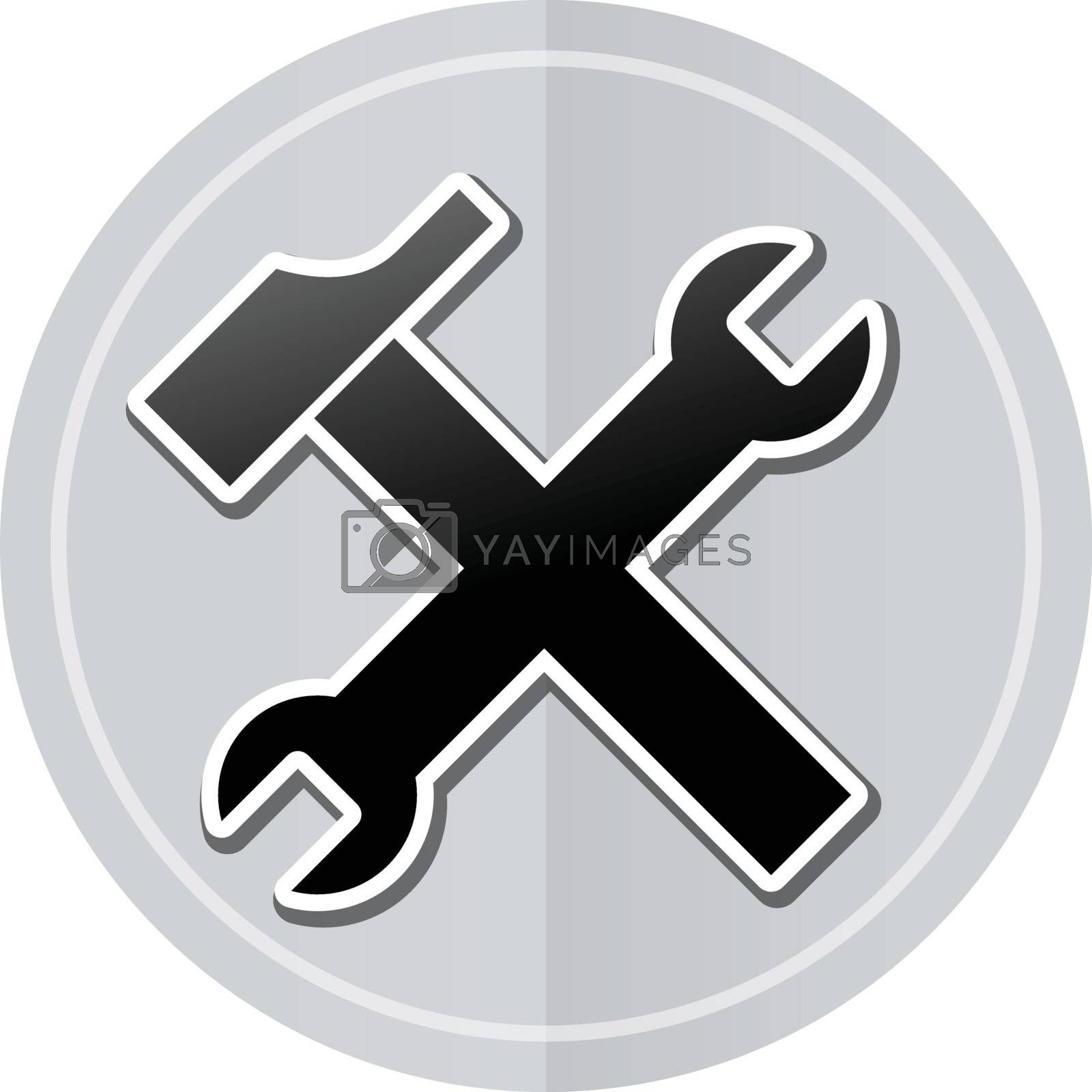 Illustration of tools sticker icon simple design