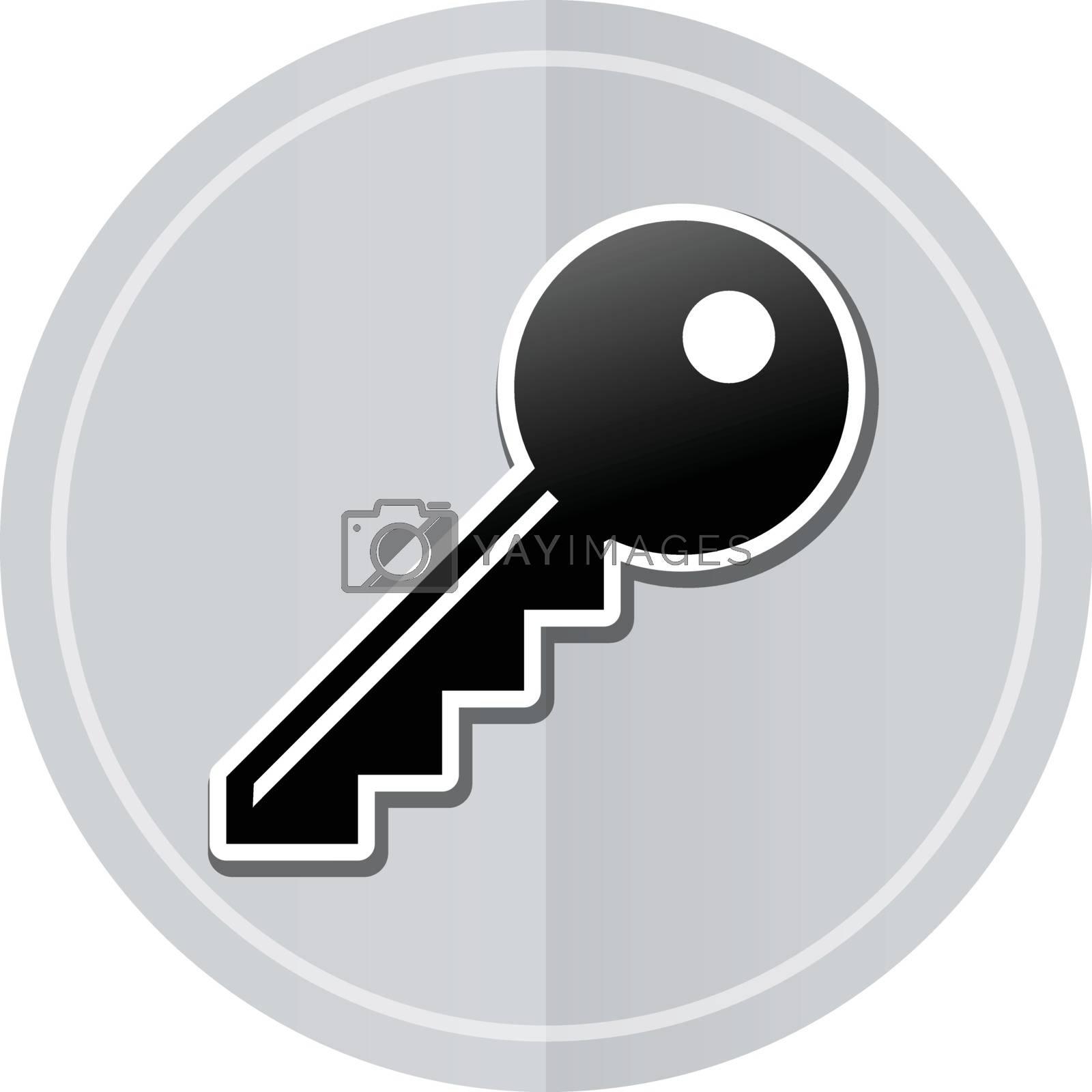 Illustration of key sticker icon simple design