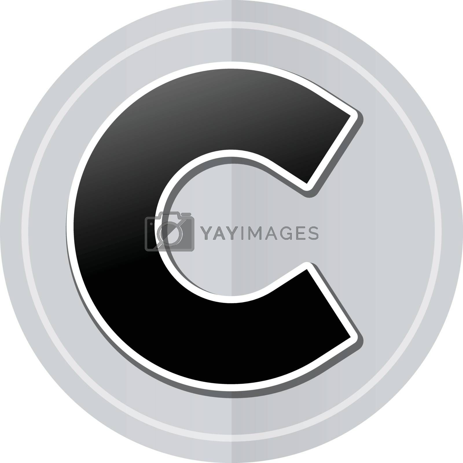 Illustration of copyright sticker icon simple design