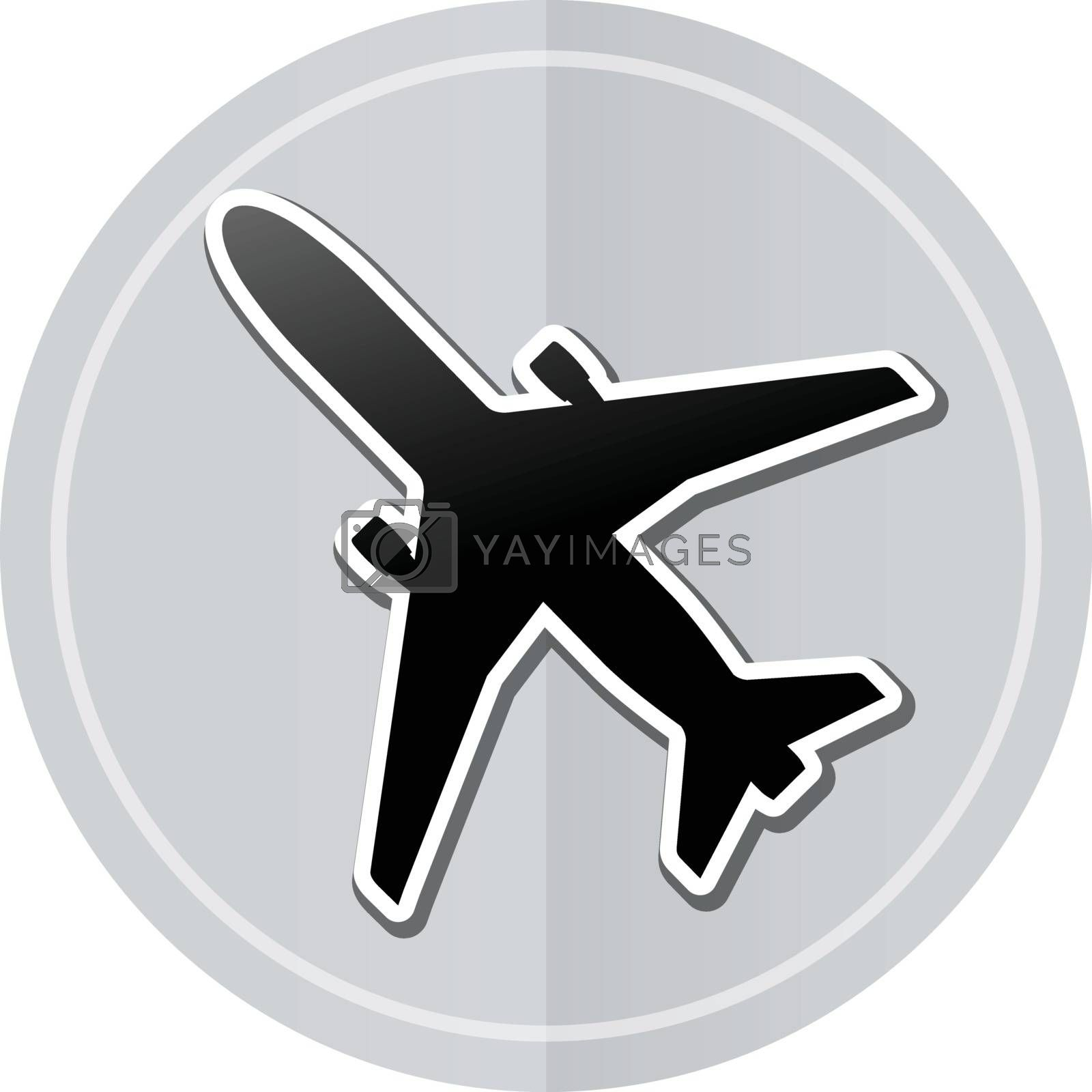 Illustration of airplane sticker icon simple design