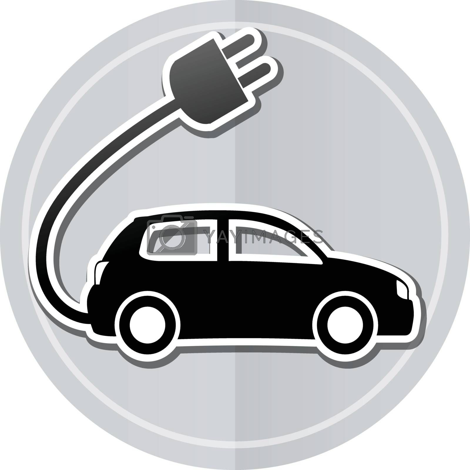 Illustration of electric car sticker icon simple design