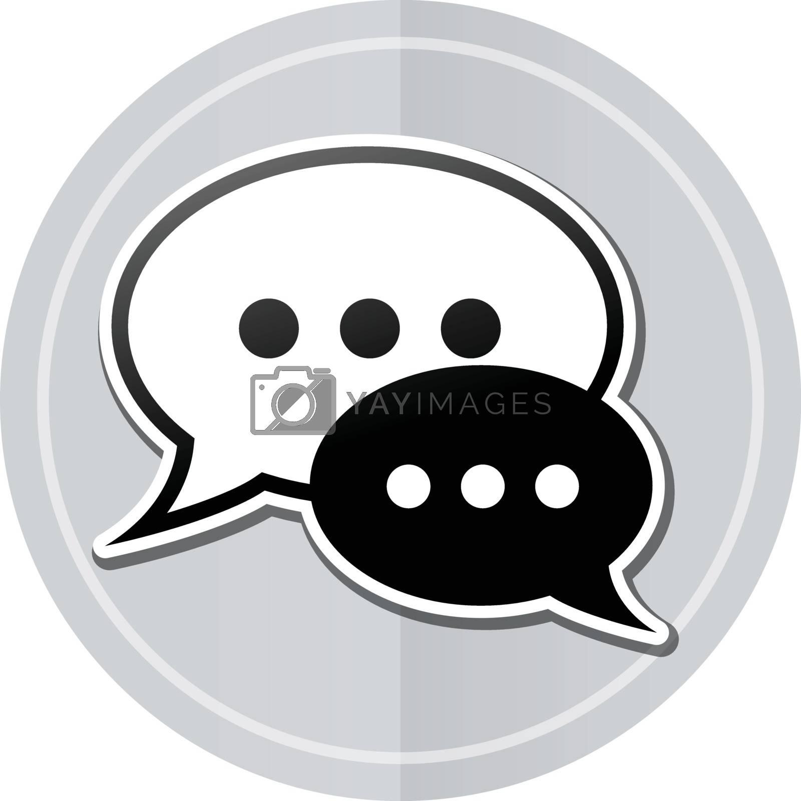 Illustration of speech bubble sticker icon simple design