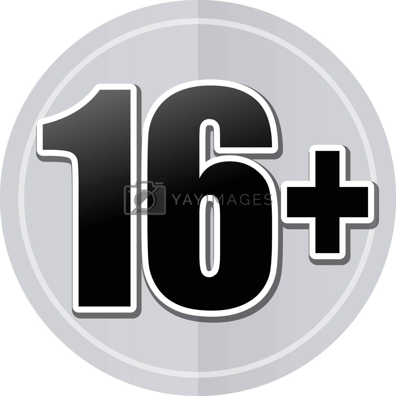 Illustration of sixteen sticker icon simple design