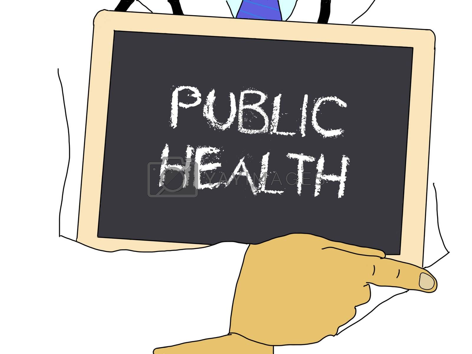 Illustration: Doctor shows information: Public health