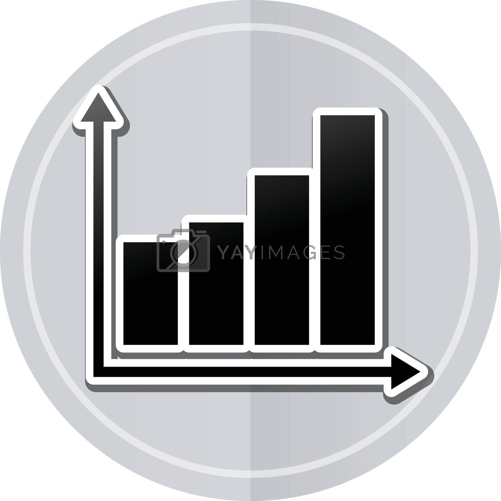 Illustration of graph sticker icon simple design