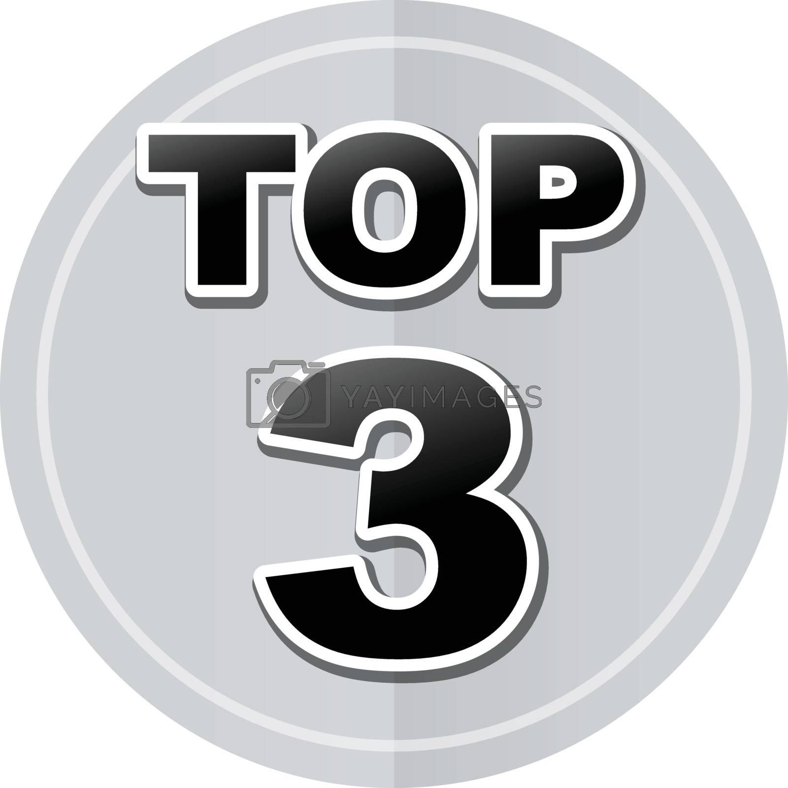 Illustration of top three sticker icon simple design