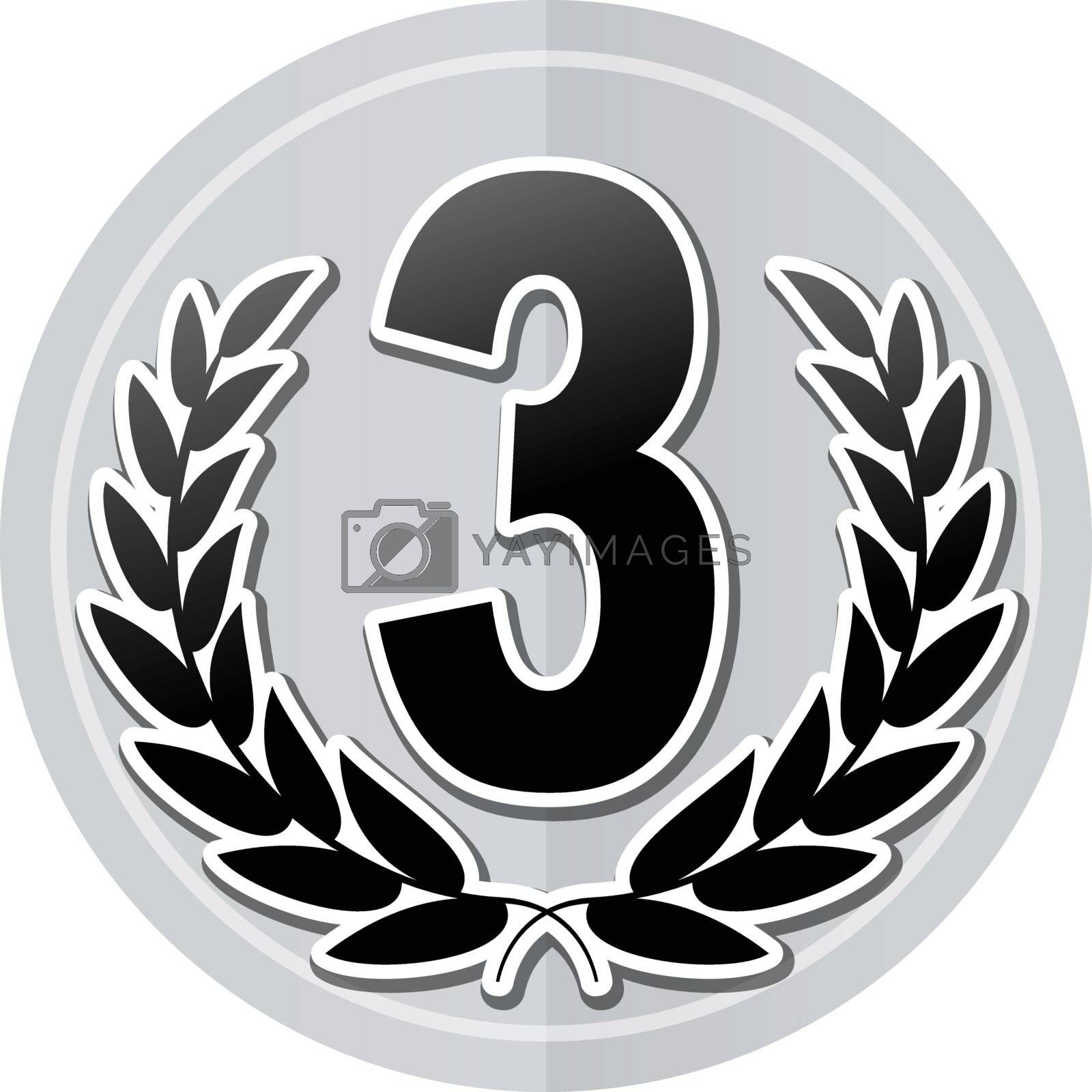 Illustration of third sticker icon simple design