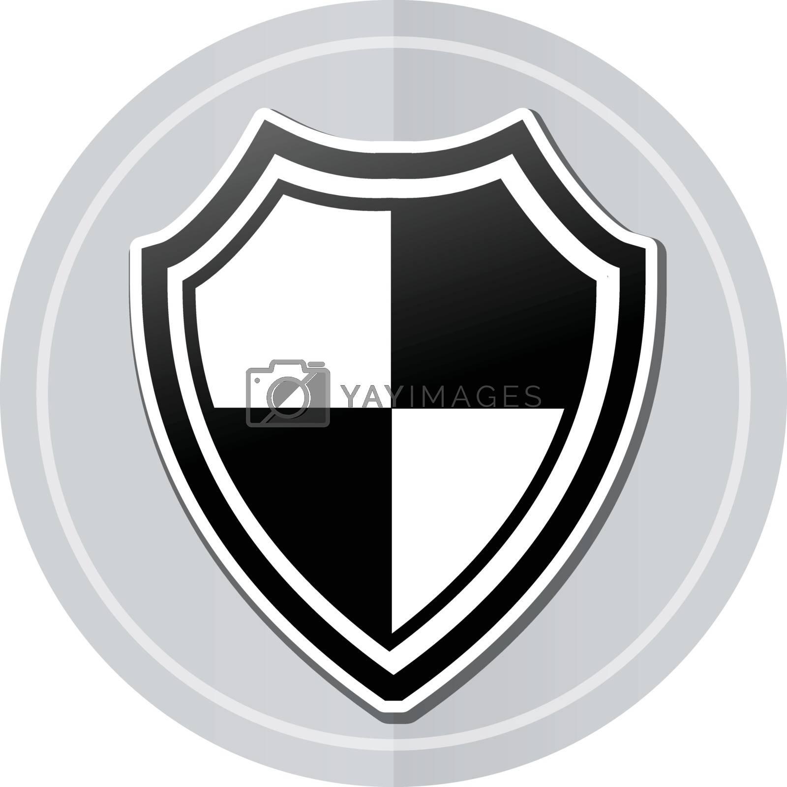 Illustration of shield sticker icon simple design