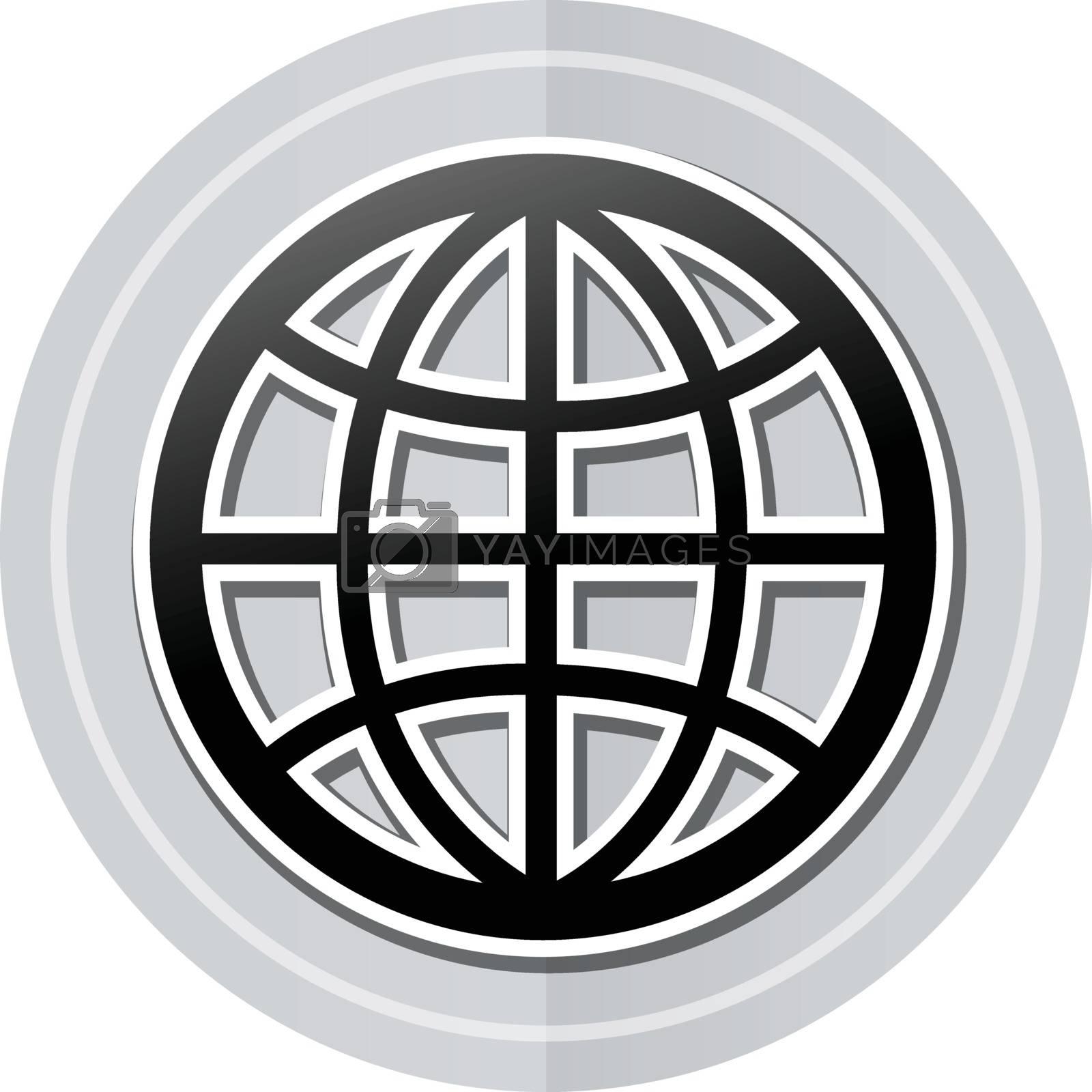 Illustration of globe sticker icon simple design