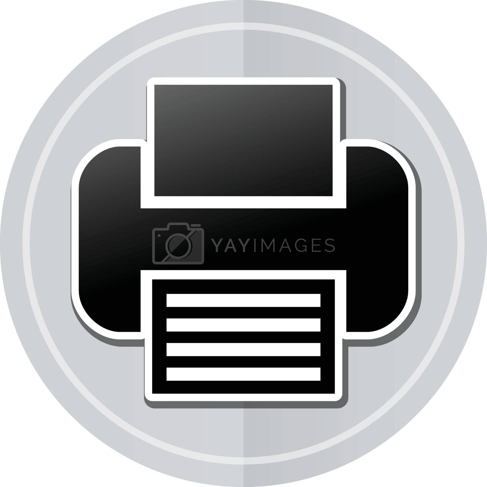 Illustration of printer sticker icon simple design