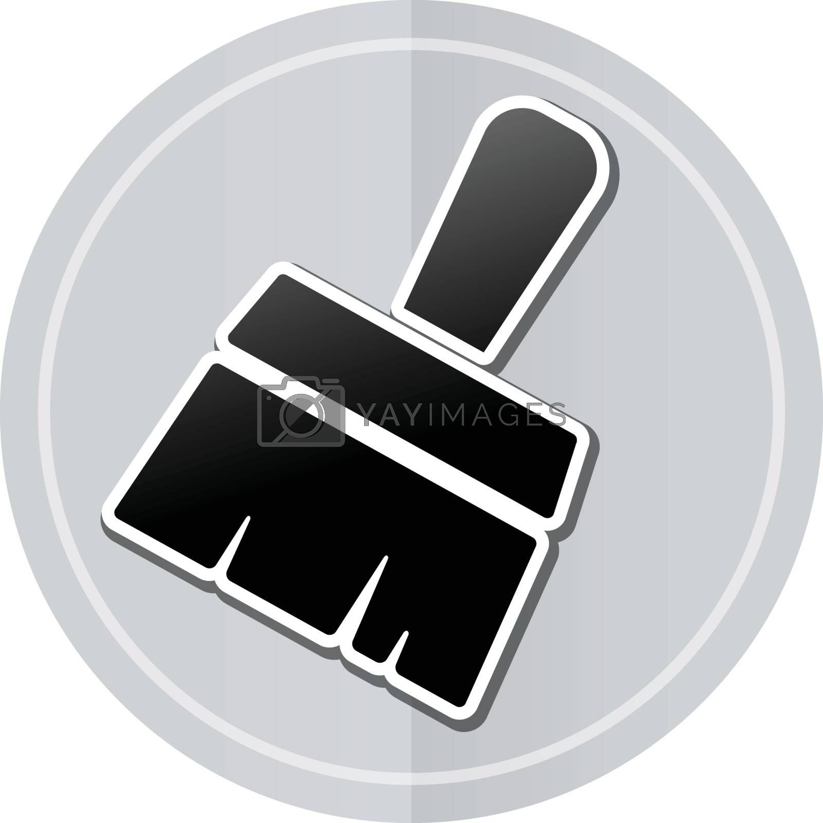 Illustration of paintbrush sticker icon simple design