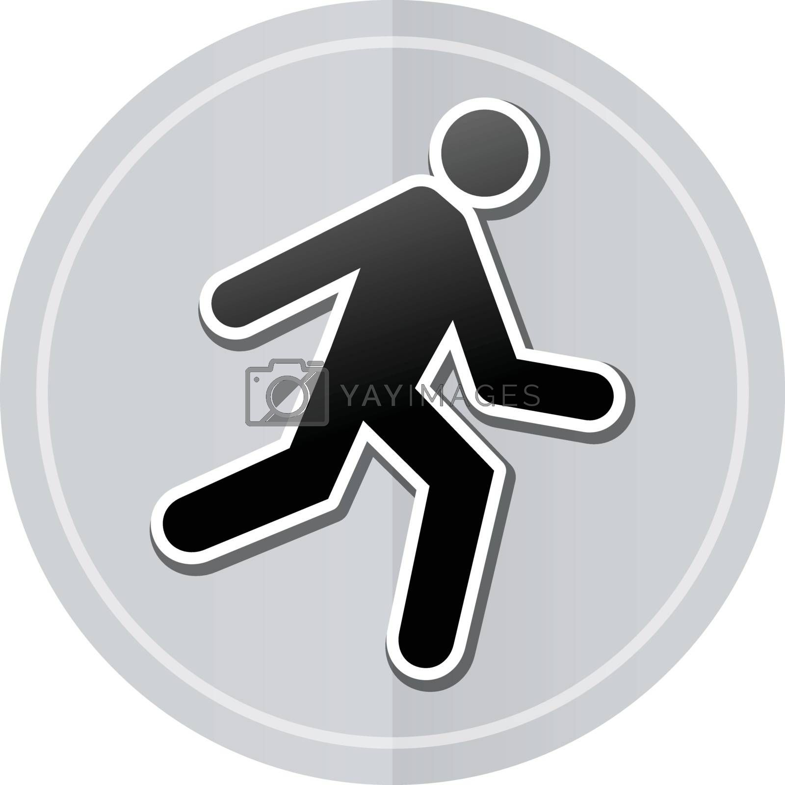 Illustration of run sticker icon simple design