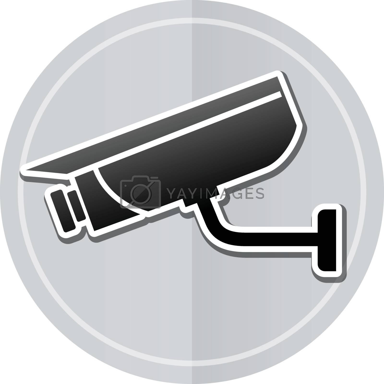 Illustration of video surveillance sticker icon simple design