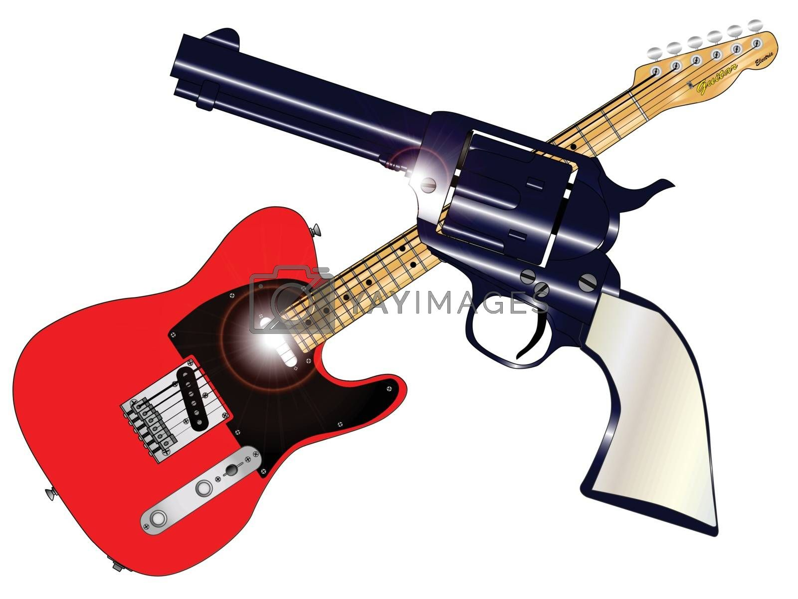 A country guitar and six shooter over a white background