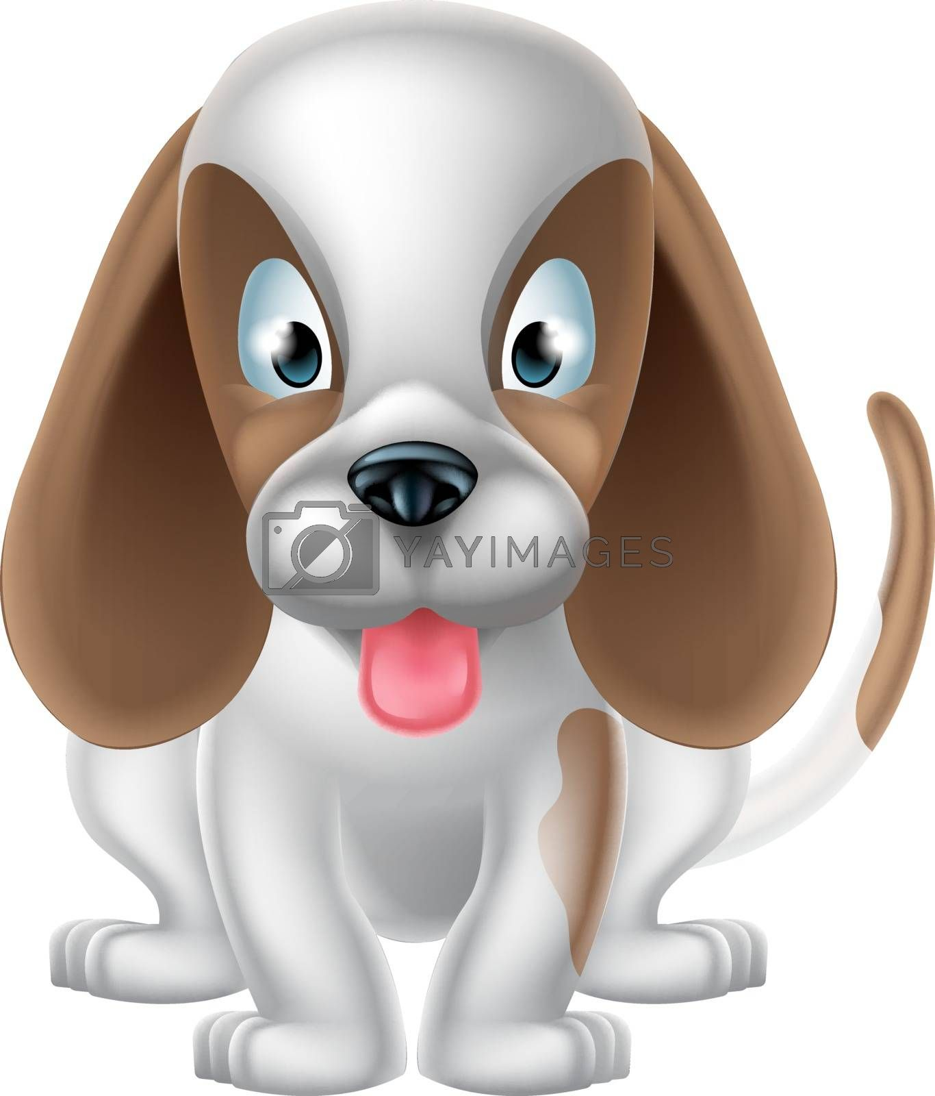 An illustration of a cute cartoon puppy dog