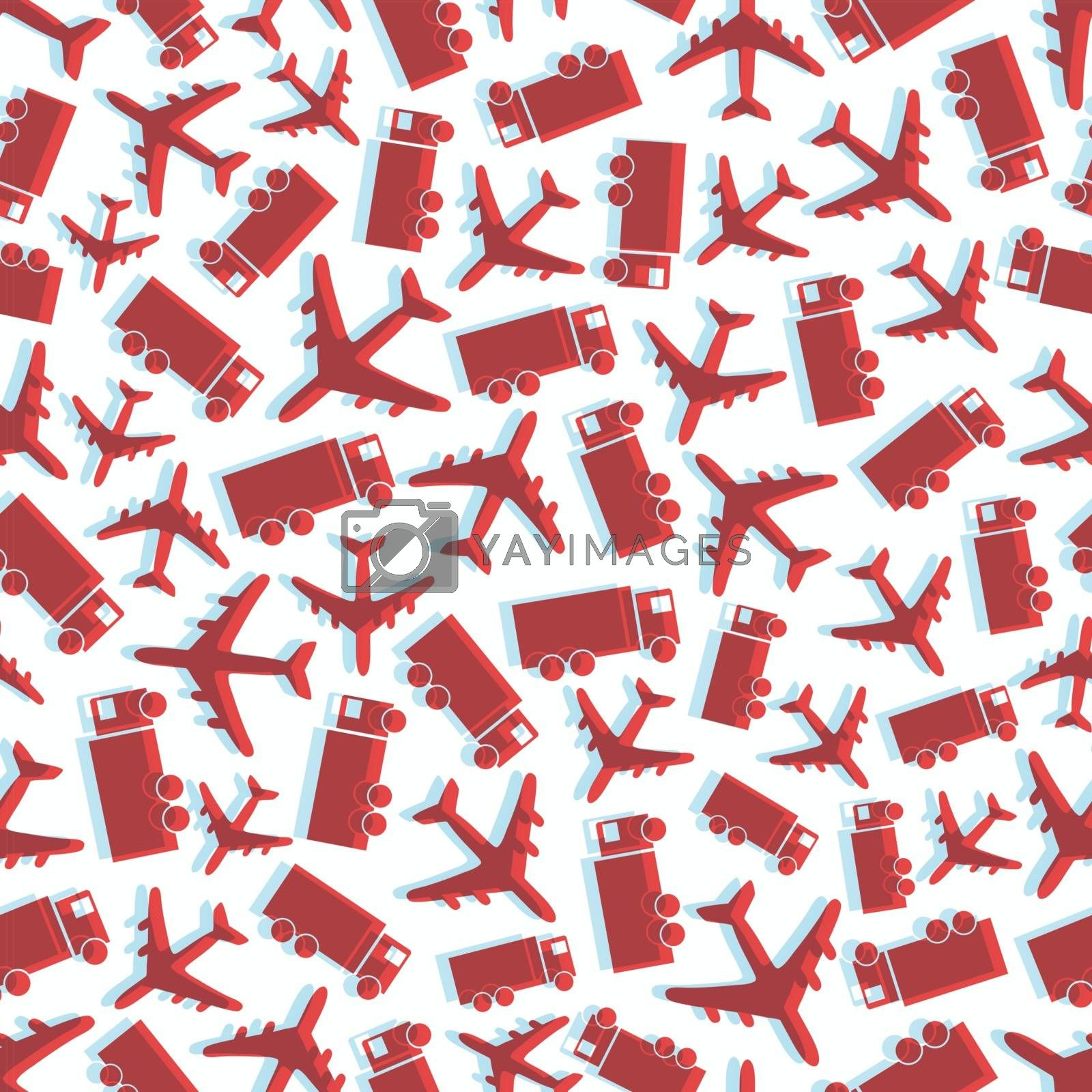 Seamless background with airplane and truck. Vector illustration.