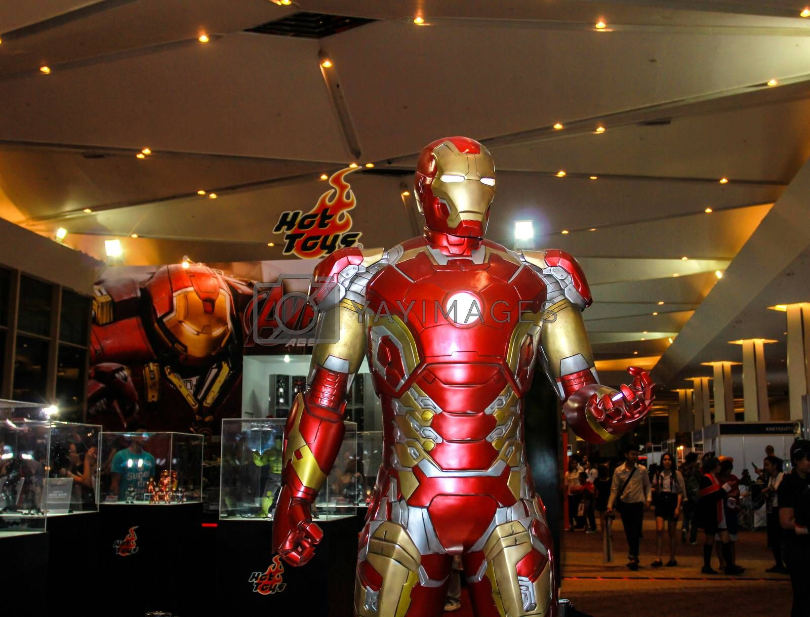 Bangkok - May 2: An Iron Man model in Thailand Comic Con 2015 on May 2, 2015 at Siam Paragon, Bangkok, Thailand.