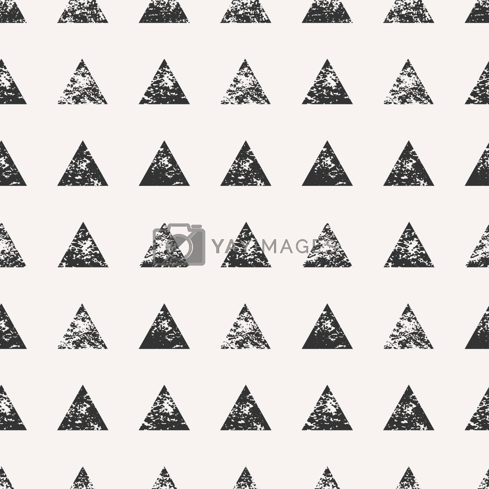 Abstract seamless pattern with stamped triangular shapes. Hand drawn watercolor geometric pattern.