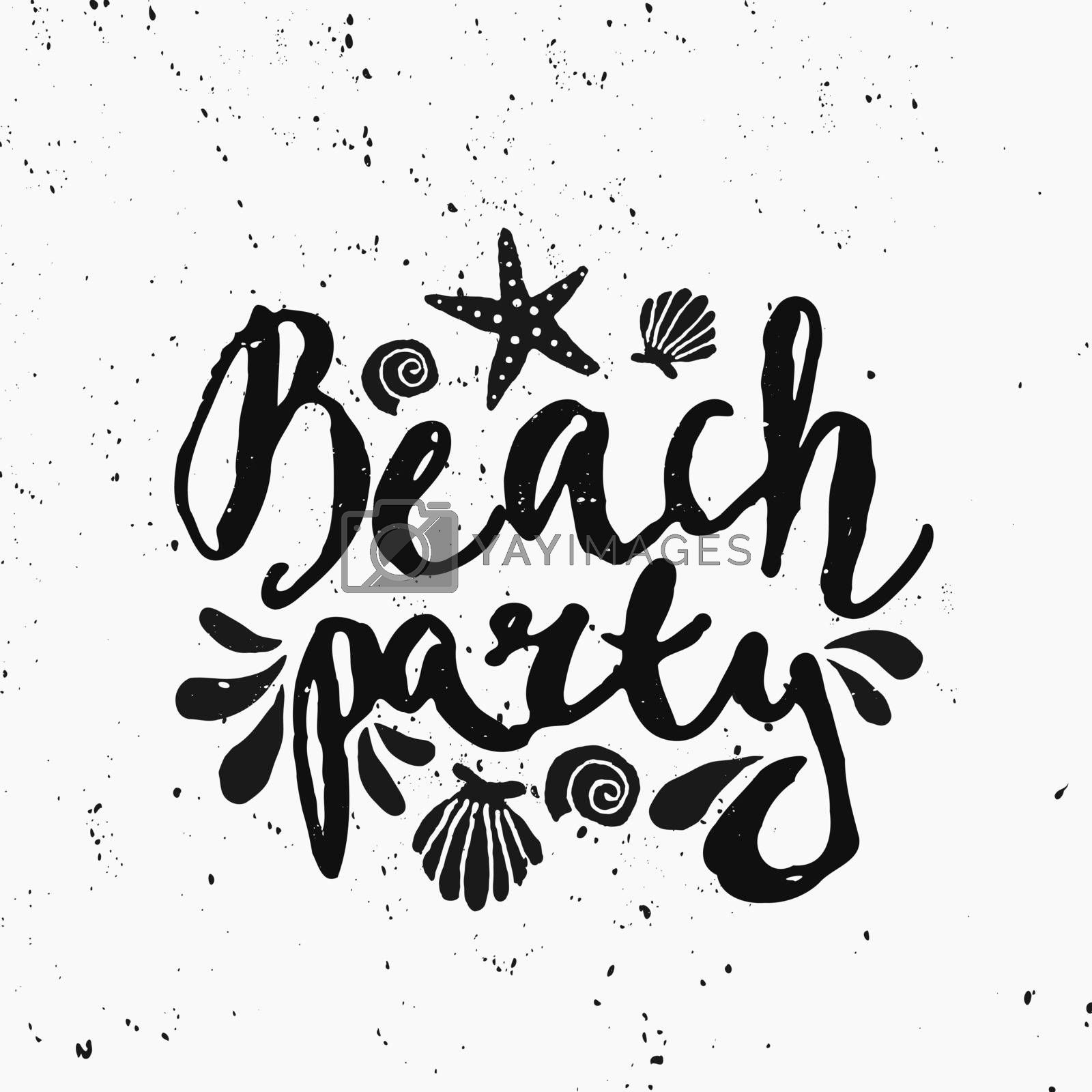 "Hand lettered text ""Beach Party"" and decorative elements in black and white."