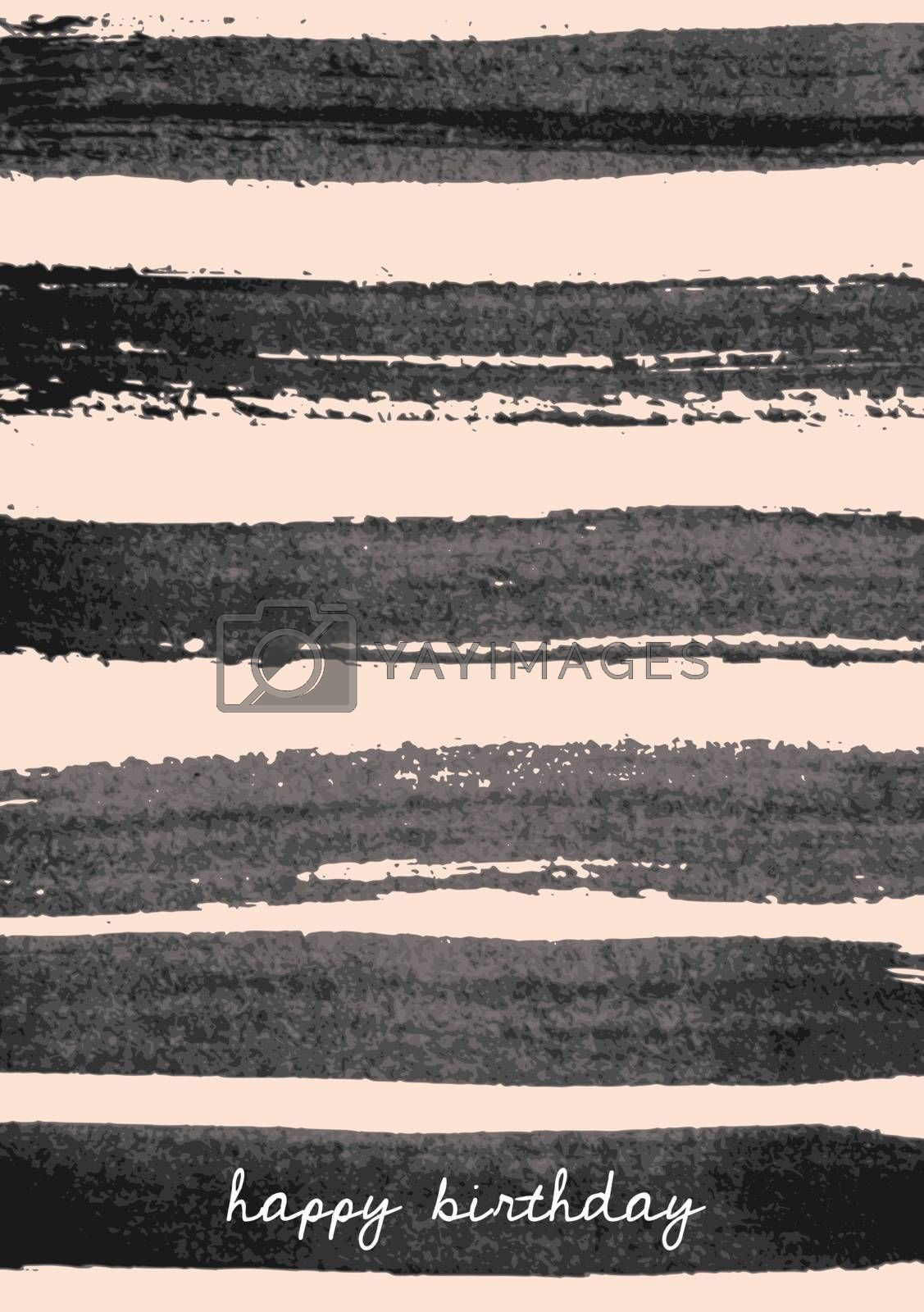 Hand drawn brush strokes birthday greeting card design. Horizontal paint stripes in black on blush pink background.