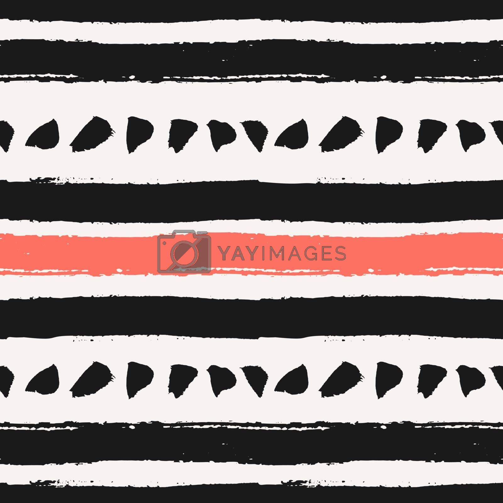 Hand drawn brush strokes seamless pattern. Abstract hand painted repeat texture in black and coral red.