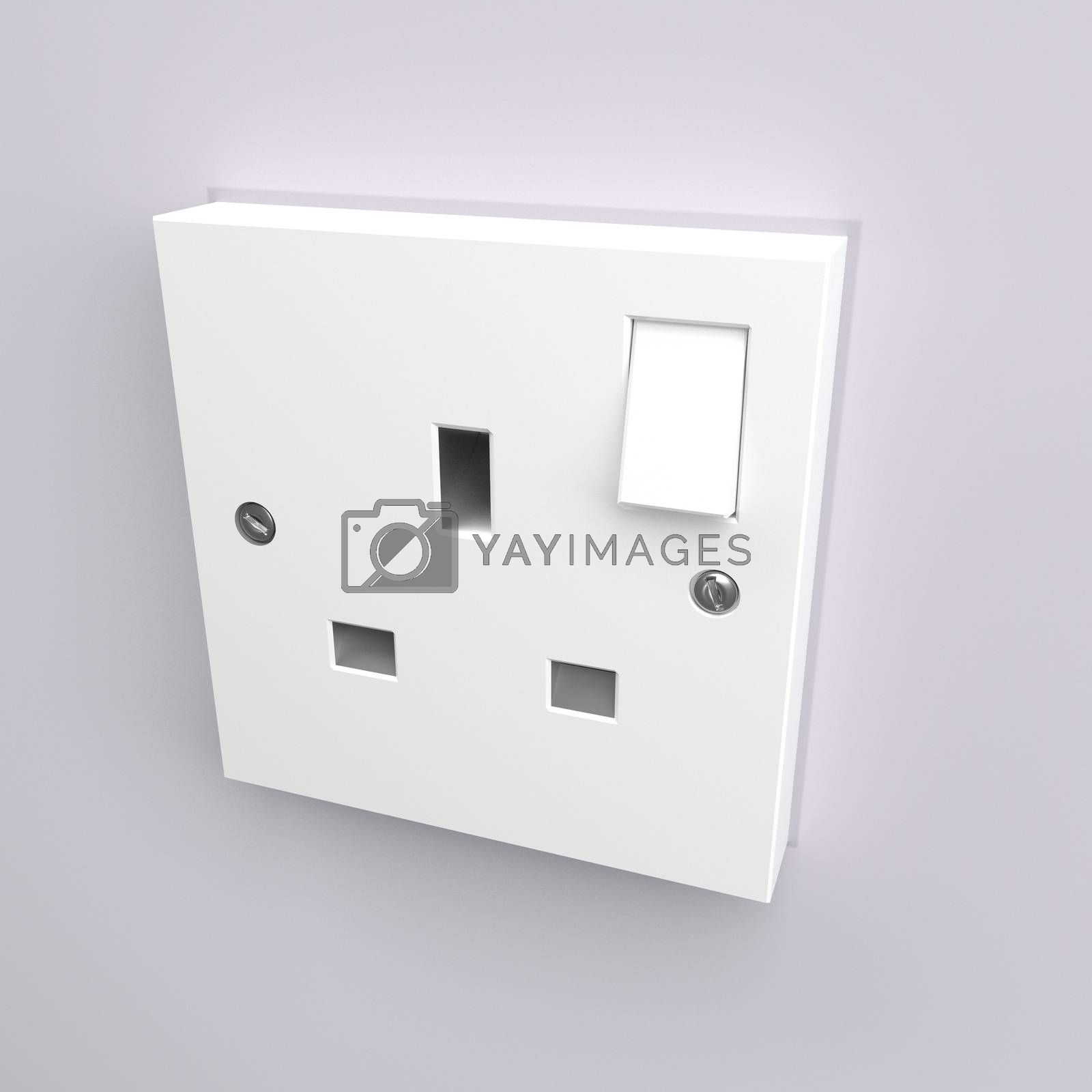 Illustration depicting a wall mounted electrical plug socket.