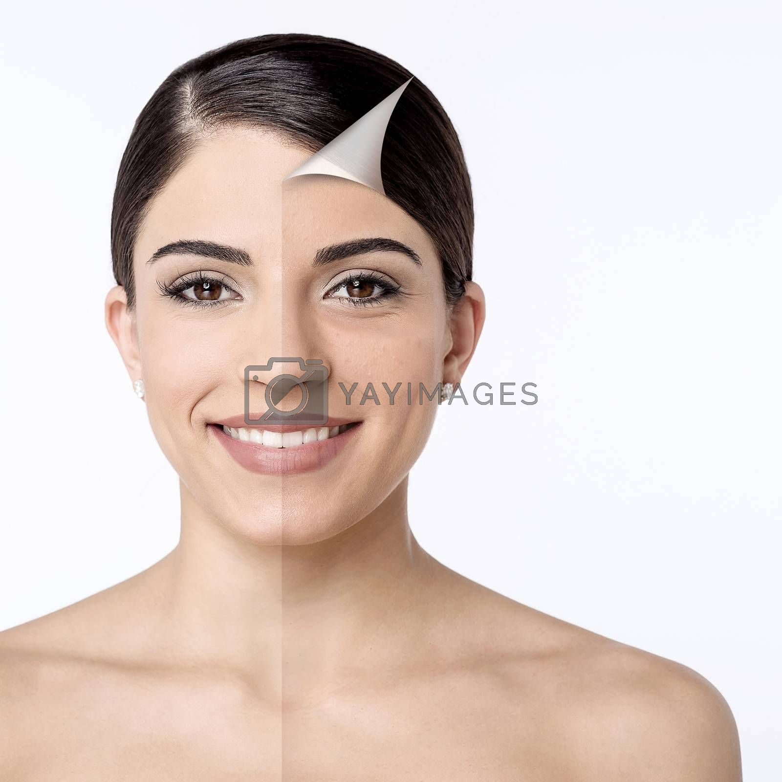 Comparison portrait of a smiling woman without and with makeup