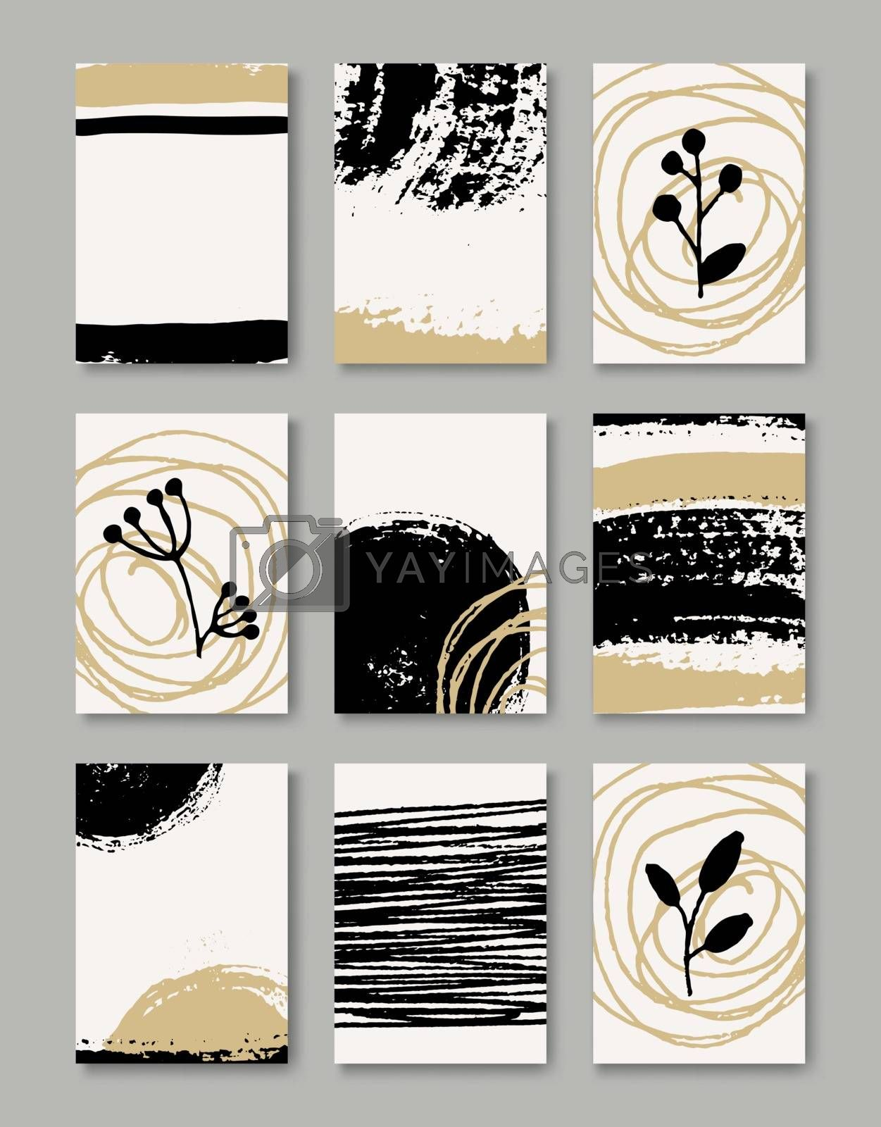 A set of hand drawn style greeting card templates in black, white and golden. Abstract brush strokes, ink doodles and floral element pattern designs with copy space. EPS 10 file, gradient mesh used.