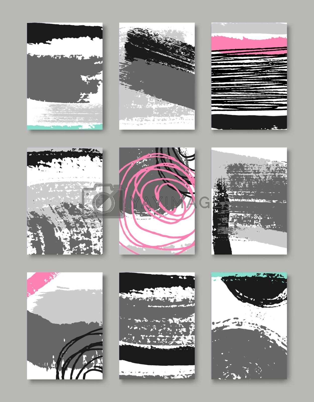 A set of hand drawn style greeting card templates in black, white and gray with some bright pink elements. Abstract brush strokes and ink doodles pattern designs with copy space. EPS 10 file, gradient mesh used.