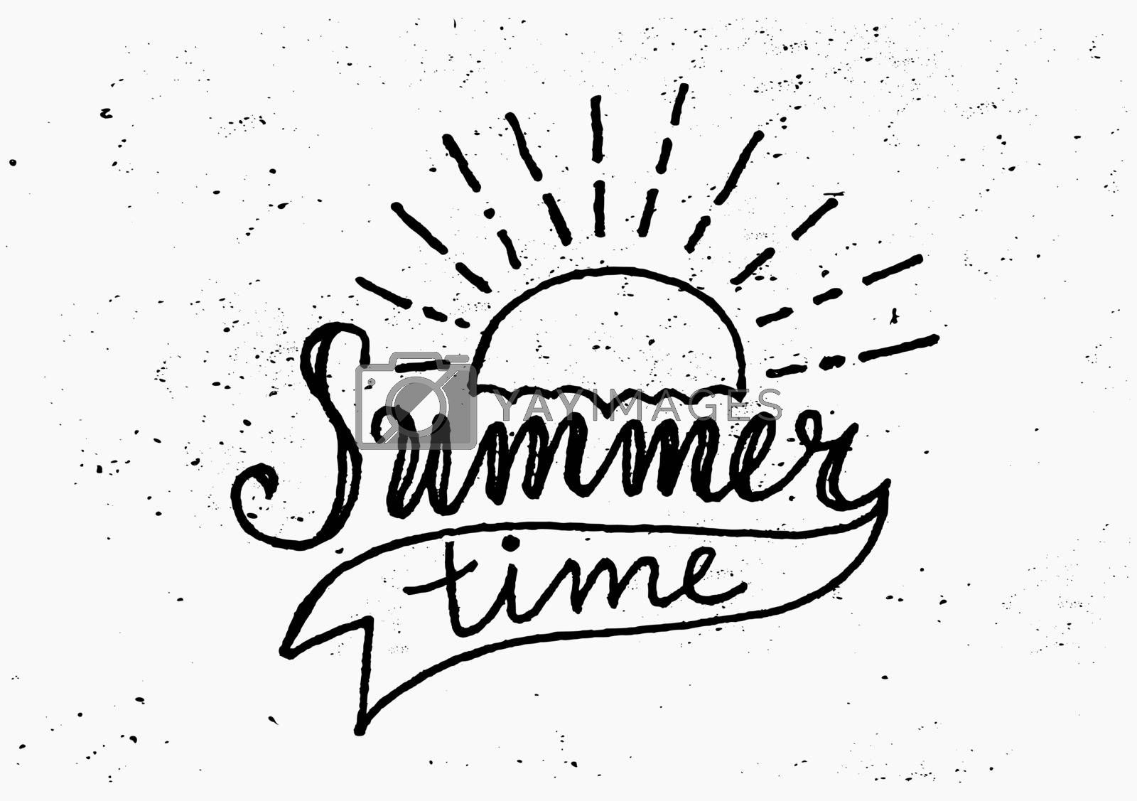 "Hand drawn typographic design ""Summer Time"" in black and white."